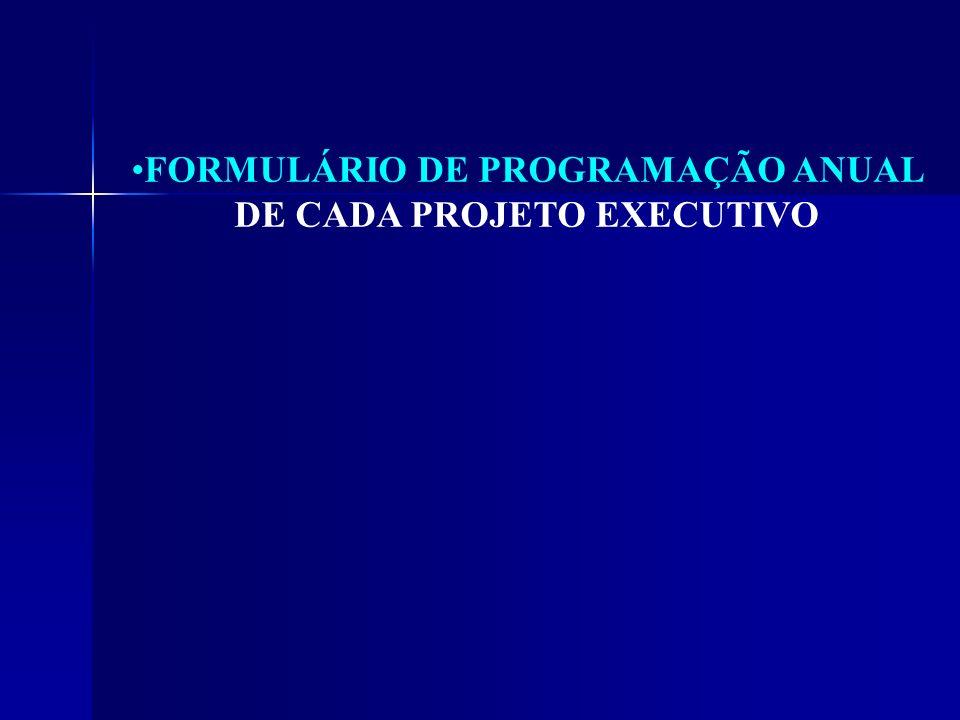 FORMULÁRIO DE PROGRAMAÇÃO ANUAL DE CADA PROJETO EXECUTIVO