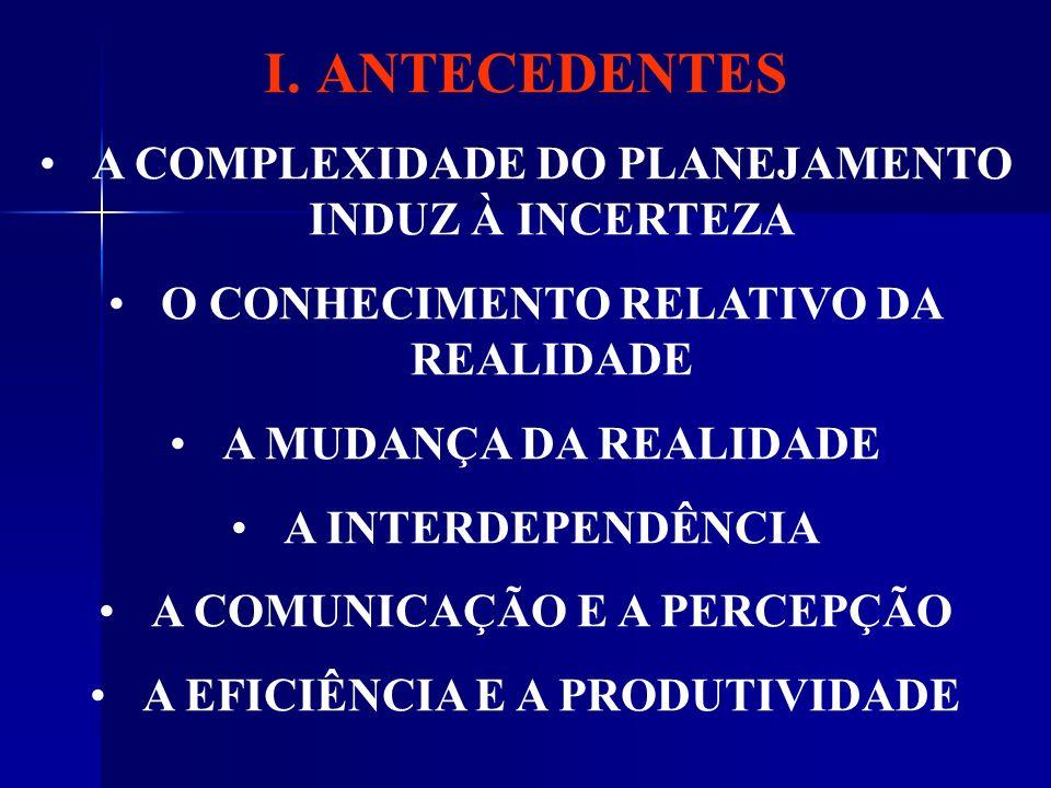 ANTECEDENTES A COMPLEXIDADE DO PLANEJAMENTO INDUZ À INCERTEZA