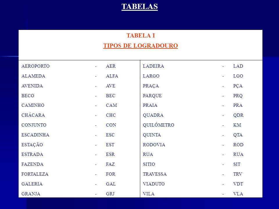 TABELAS TABELA I TIPOS DE LOGRADOURO AEROPORTO - AER LADEIRA LAD