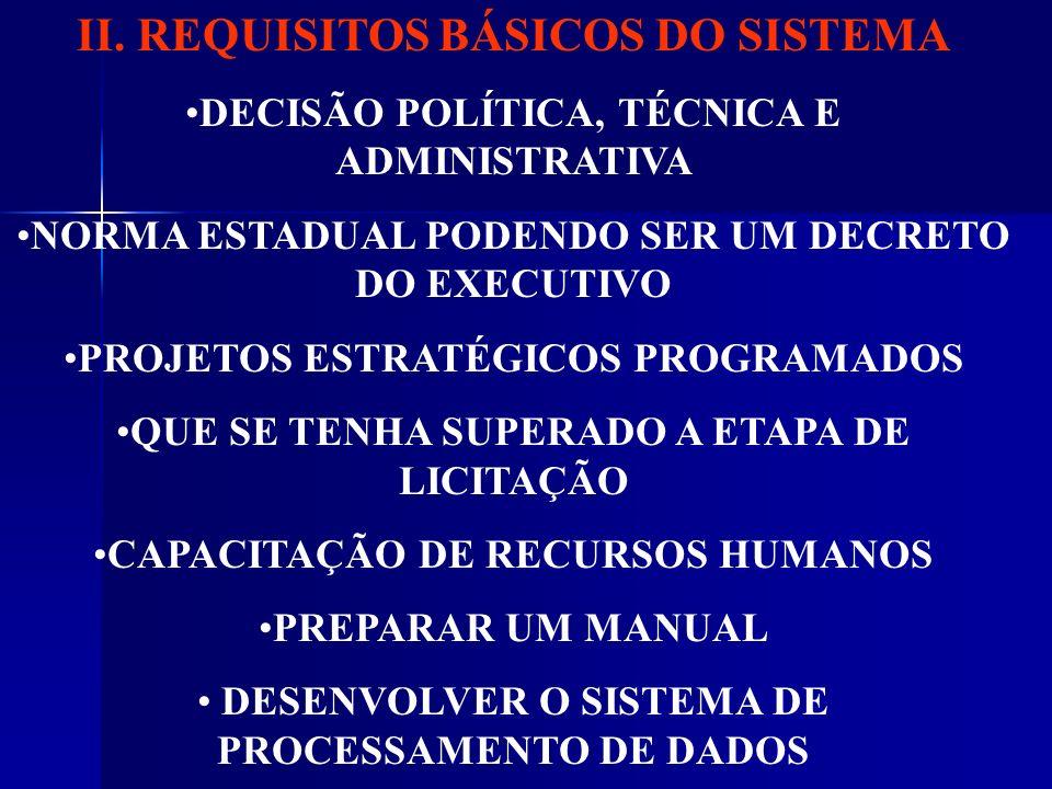 II. REQUISITOS BÁSICOS DO SISTEMA