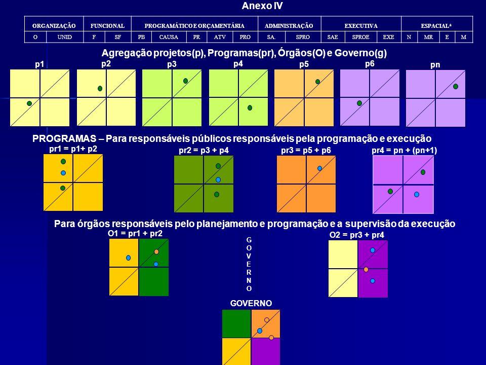 Agregação projetos(p), Programas(pr), Órgãos(O) e Governo(g)