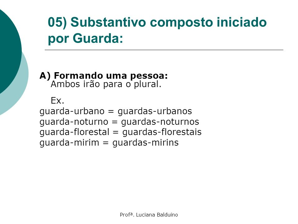 05) Substantivo composto iniciado por Guarda: