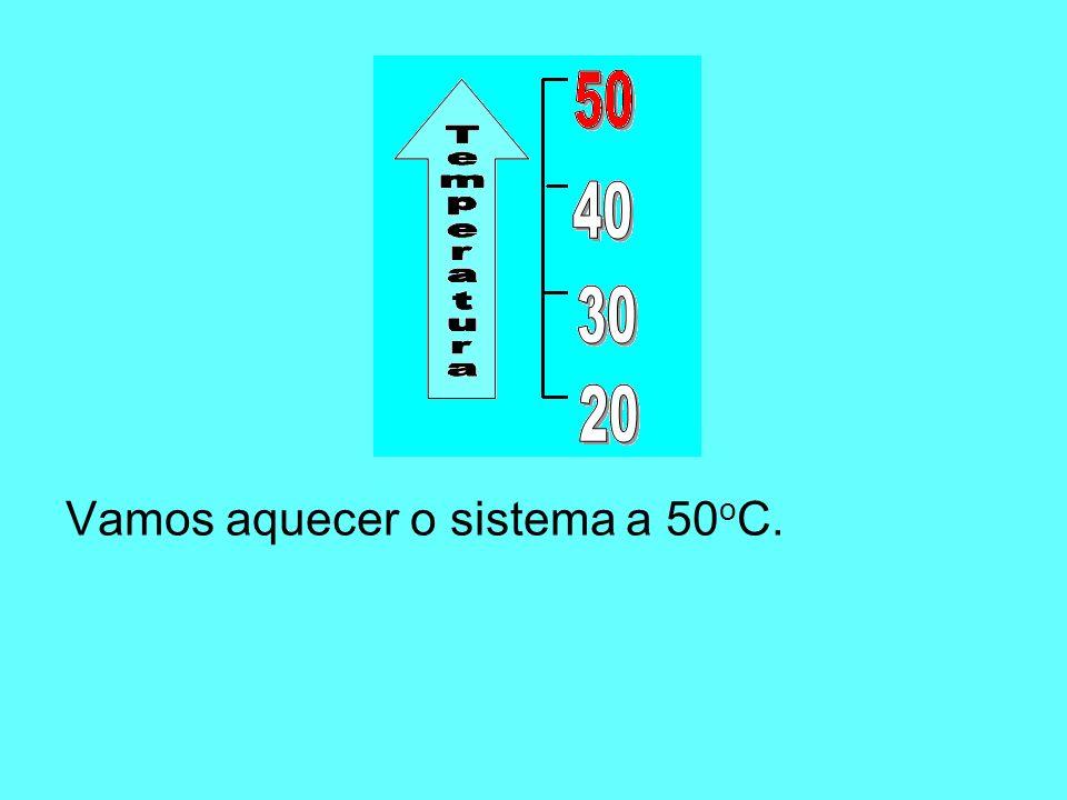 Vamos aquecer o sistema a 50oC.