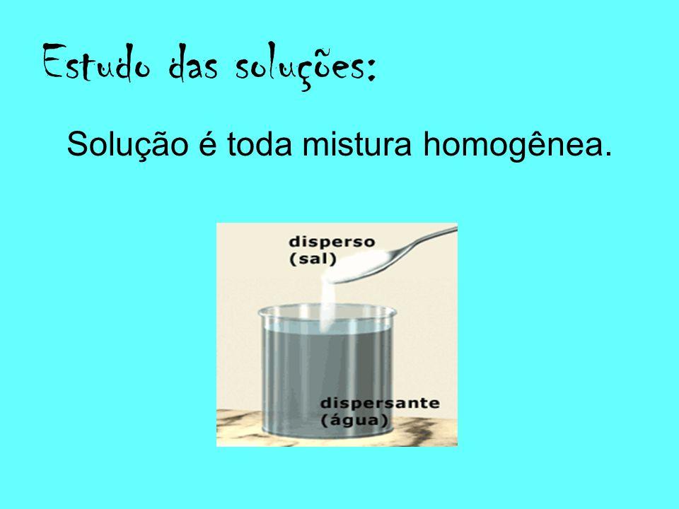 Estudo das soluções: Solução é toda mistura homogênea.