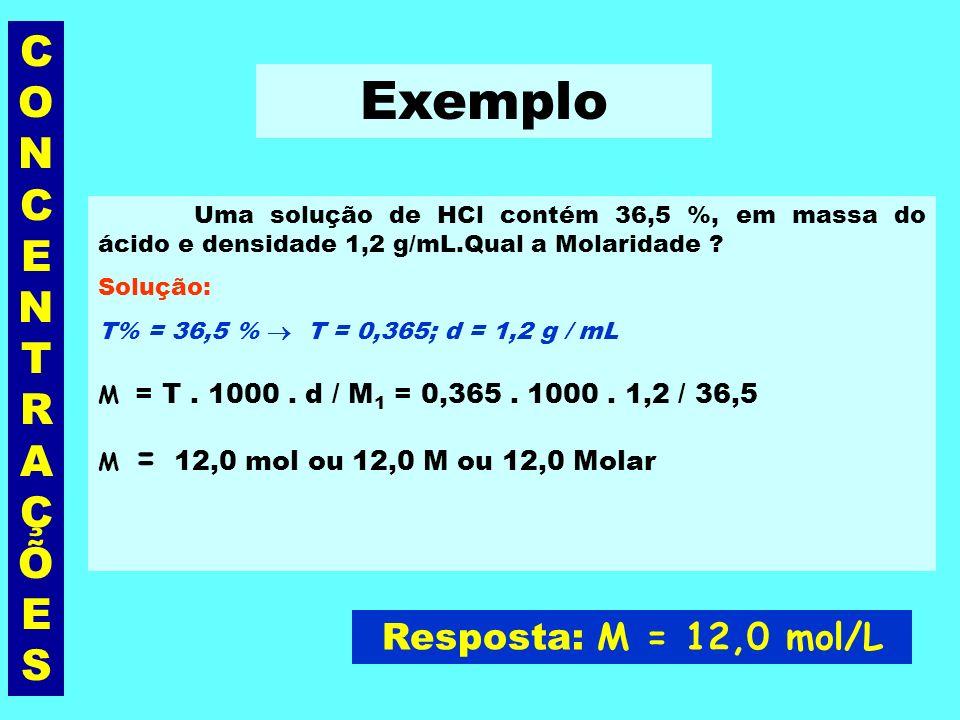 Exemplo CONCENTRAÇÕES Resposta: M = 12,0 mol/L