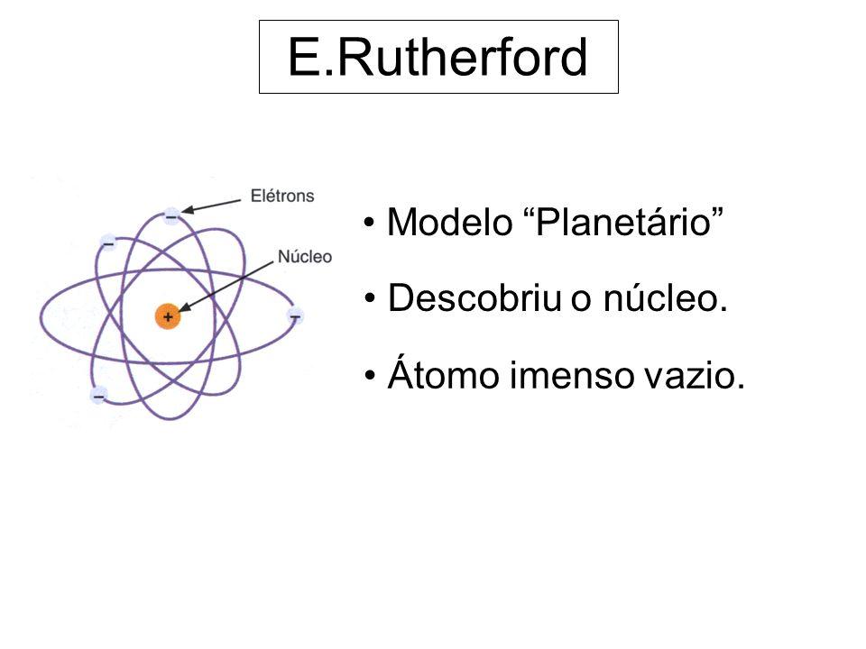 E.Rutherford Modelo Planetário Descobriu o núcleo.