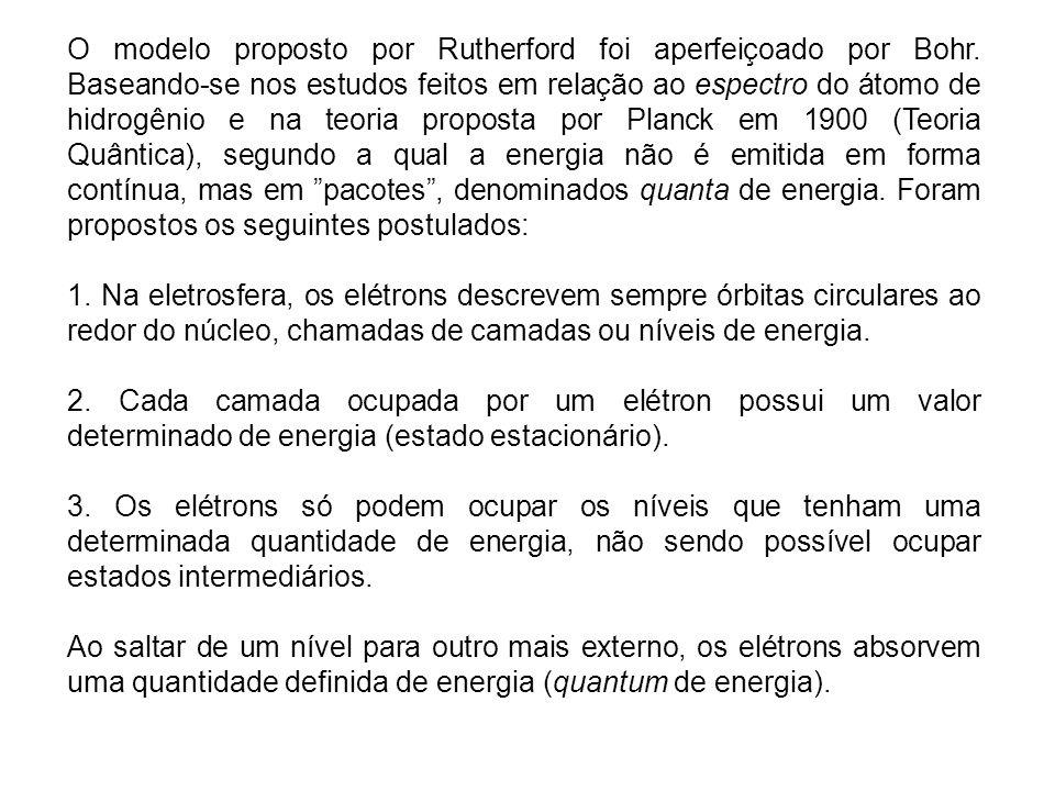 O modelo proposto por Rutherford foi aperfeiçoado por Bohr