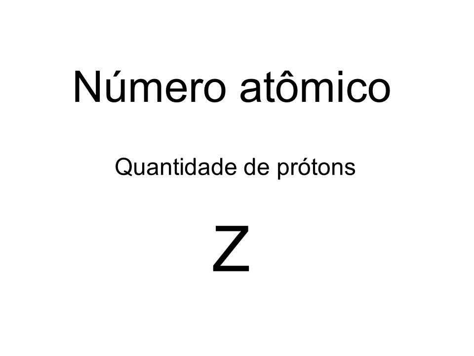 Número atômico Quantidade de prótons Z