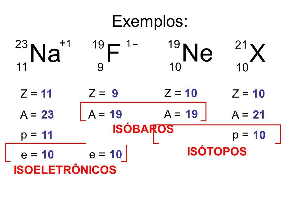 Na F Ne X Exemplos: 23 19 19 21 11 9 10 10 Z = 11 Z = 9 Z = 10 Z = 10