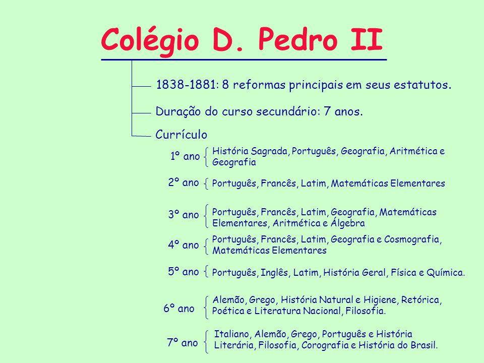 Colégio D. Pedro II 1838-1881: 8 reformas principais em seus estatutos. Duração do curso secundário: 7 anos.