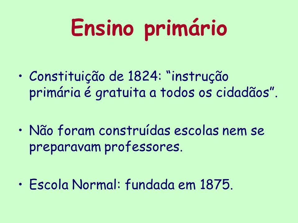 Ensino primário Constituição de 1824: instrução primária é gratuita a todos os cidadãos .