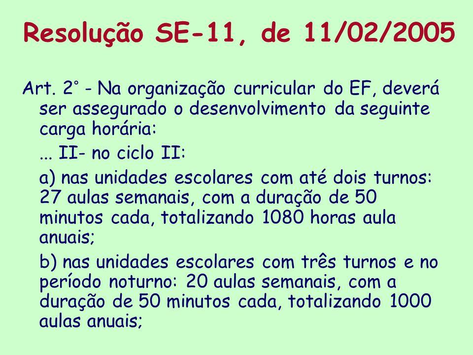 Resolução SE-11, de 11/02/2005 Art. 2° - Na organização curricular do EF, deverá ser assegurado o desenvolvimento da seguinte carga horária: