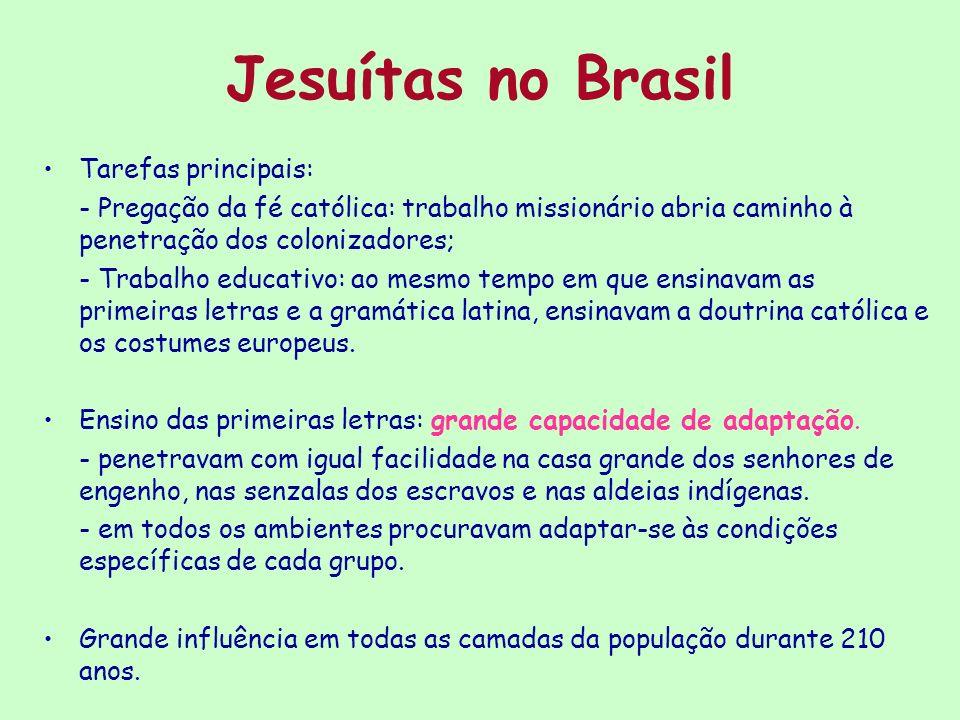Jesuítas no Brasil Tarefas principais:
