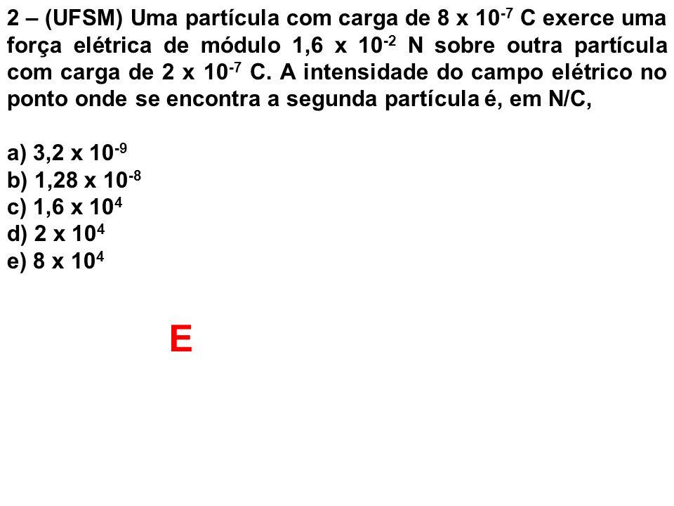 2 – (UFSM) Uma partícula com carga de 8 x 10-7 C exerce uma força elétrica de módulo 1,6 x 10-2 N sobre outra partícula com carga de 2 x 10-7 C. A intensidade do campo elétrico no ponto onde se encontra a segunda partícula é, em N/C,