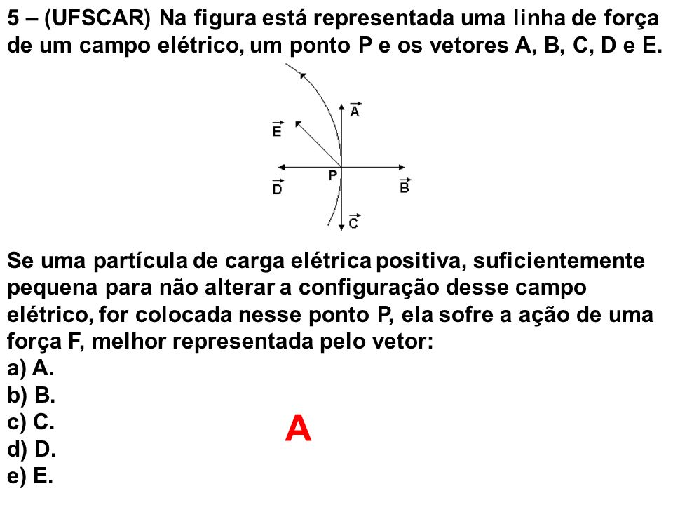 5 – (UFSCAR) Na figura está representada uma linha de força de um campo elétrico, um ponto P e os vetores A, B, C, D e E.