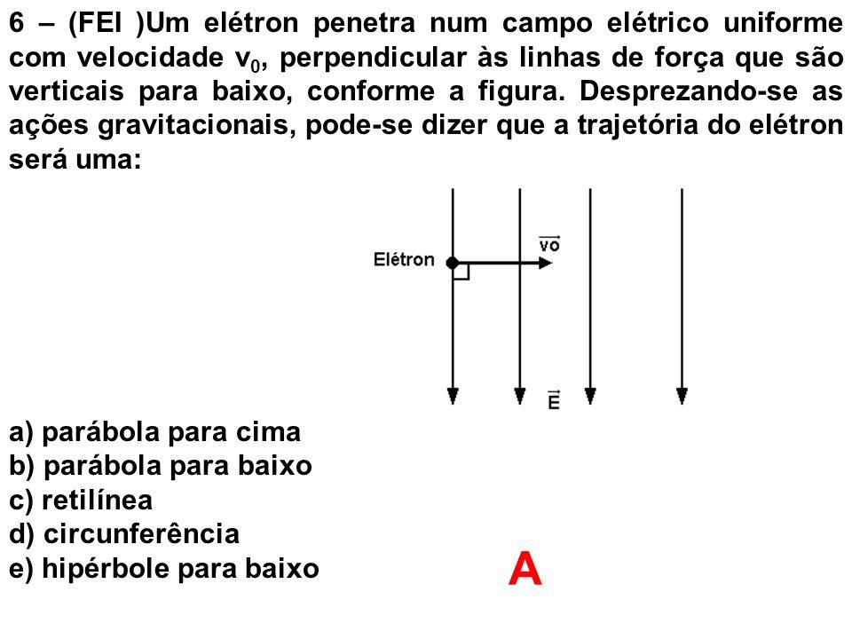 6 – (FEI )Um elétron penetra num campo elétrico uniforme com velocidade v0, perpendicular às linhas de força que são verticais para baixo, conforme a figura. Desprezando-se as ações gravitacionais, pode-se dizer que a trajetória do elétron será uma: