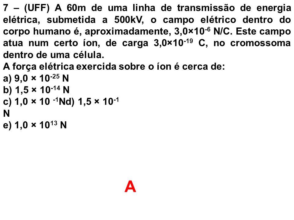 7 – (UFF) A 60m de uma linha de transmissão de energia elétrica, submetida a 500kV, o campo elétrico dentro do corpo humano é, aproximadamente, 3,0×10-6 N/C. Este campo atua num certo íon, de carga 3,0×10-19 C, no cromossoma dentro de uma célula.