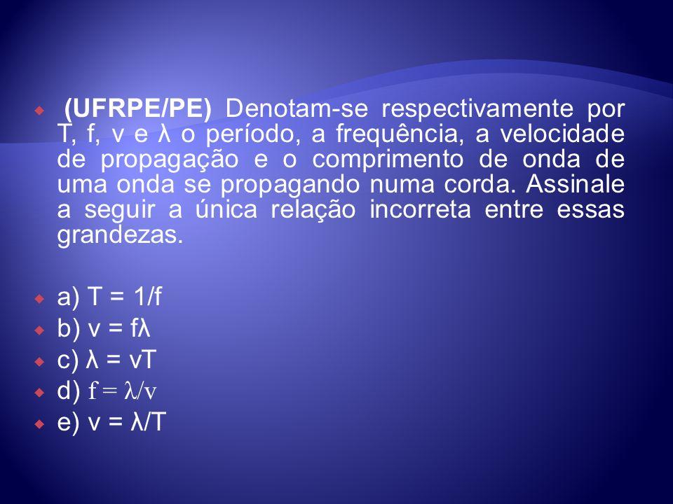 (UFRPE/PE) Denotam-se respectivamente por T, f, v e λ o período, a frequência, a velocidade de propagação e o comprimento de onda de uma onda se propagando numa corda. Assinale a seguir a única relação incorreta entre essas grandezas.