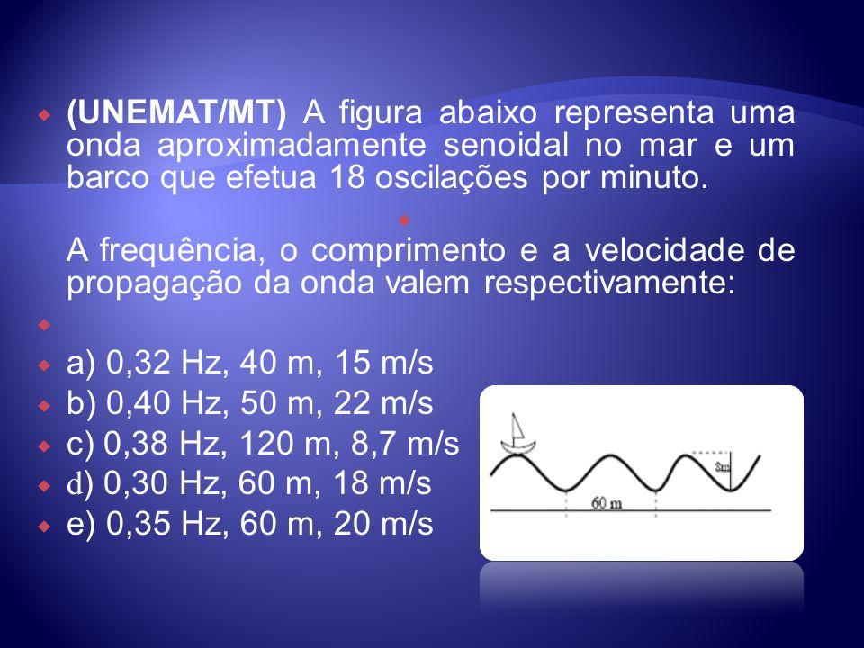 (UNEMAT/MT) A figura abaixo representa uma onda aproximadamente senoidal no mar e um barco que efetua 18 oscilações por minuto.