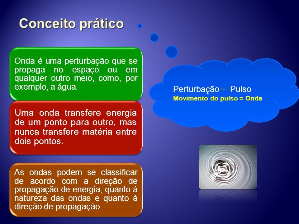 Conceito prático Onda é uma perturbação que se propaga no espaço ou em qualquer outro meio, como, por exemplo, a água.