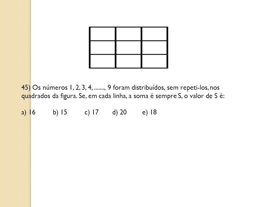 45) Os números 1, 2, 3, 4, ......., 9 foram distribuídos, sem repeti-los, nos quadrados da figura. Se, em cada linha, a soma é sempre S, o valor de S é: