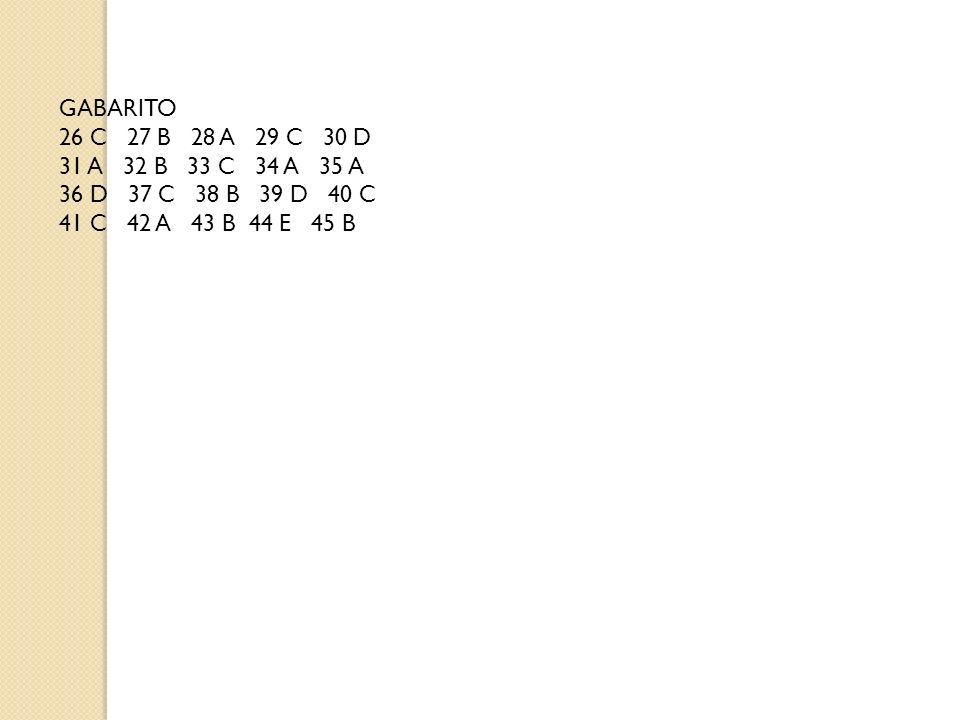 GABARITO 26 C 27 B 28 A 29 C 30 D. 31 A 32 B 33 C 34 A 35 A. 36 D 37 C 38 B 39 D 40 C.