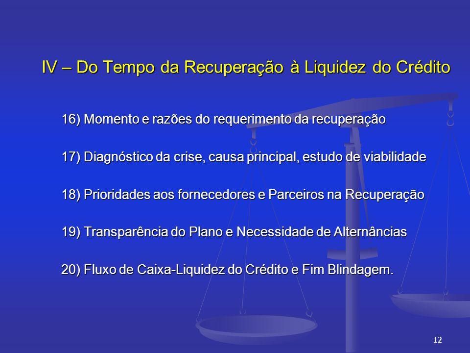 IV – Do Tempo da Recuperação à Liquidez do Crédito