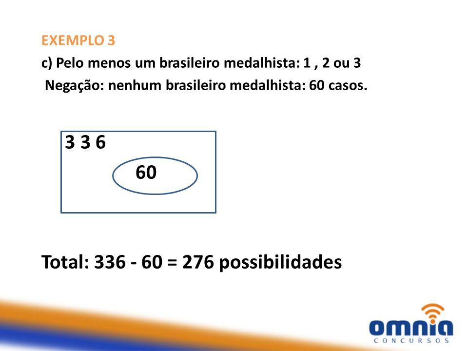 Total: 336 - 60 = 276 possibilidades