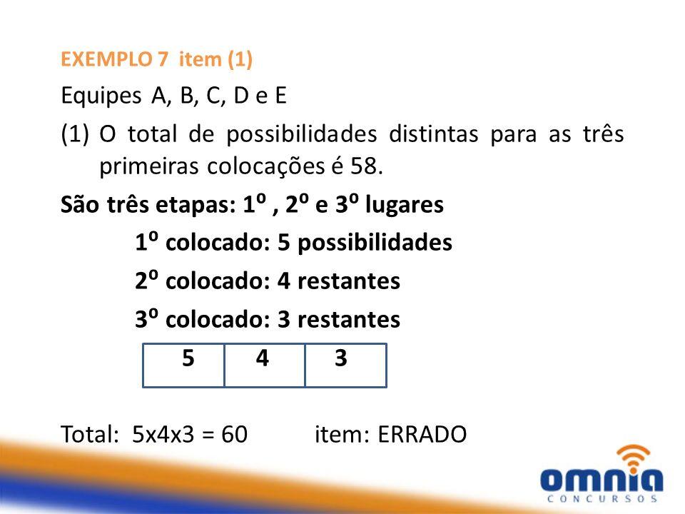 São três etapas: 1⁰ , 2⁰ e 3⁰ lugares 1⁰ colocado: 5 possibilidades
