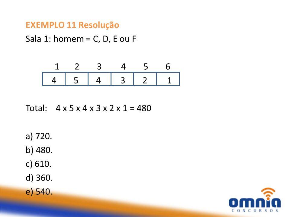 EXEMPLO 11 Resolução Sala 1: homem = C, D, E ou F. 1 2 3 4 5 6.