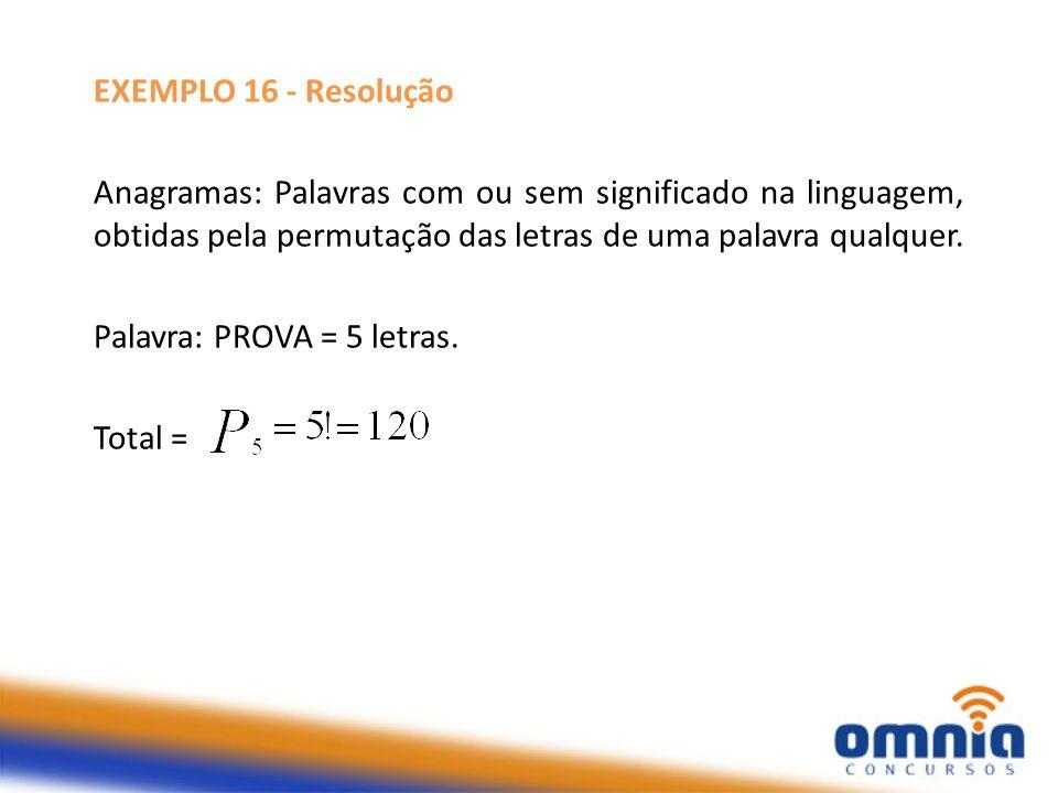 EXEMPLO 16 - Resolução Anagramas: Palavras com ou sem significado na linguagem, obtidas pela permutação das letras de uma palavra qualquer.