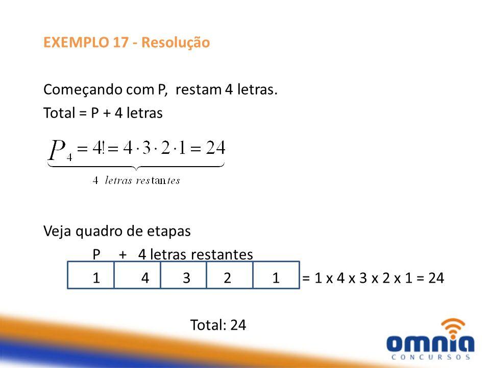 EXEMPLO 17 - Resolução Começando com P, restam 4 letras. Total = P + 4 letras. Veja quadro de etapas.