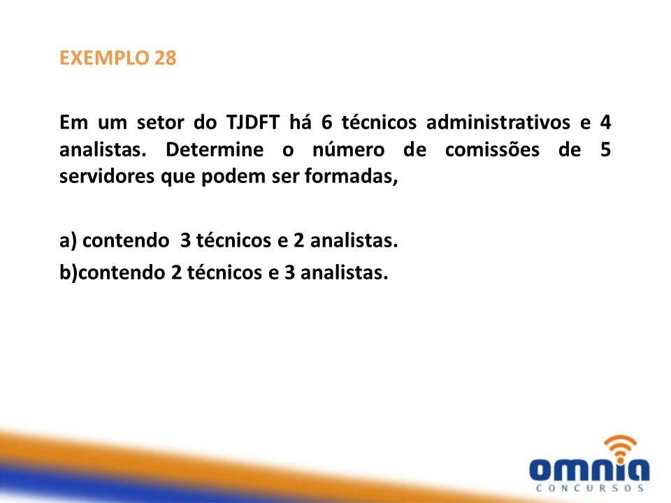 EXEMPLO 28 Em um setor do TJDFT há 6 técnicos administrativos e 4 analistas. Determine o número de comissões de 5 servidores que podem ser formadas,