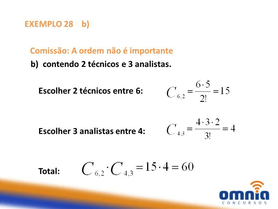 EXEMPLO 28 b) Comissão: A ordem não é importante. b) contendo 2 técnicos e 3 analistas. Escolher 2 técnicos entre 6:
