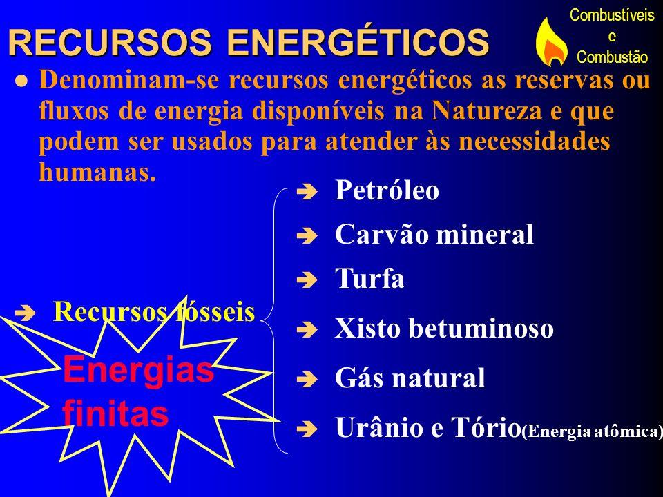 RECURSOS ENERGÉTICOS Energias finitas Petróleo Carvão mineral Turfa