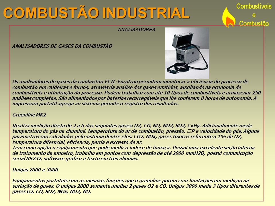 COMBUSTÃO INDUSTRIAL ANALISADORES ANALISADORES DE GASES DA COMBUSTÃO
