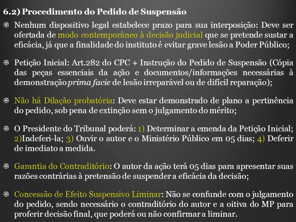 6.2) Procedimento do Pedido de Suspensão