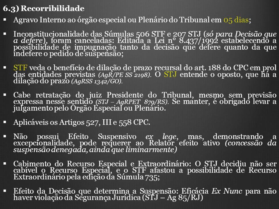 6.3) Recorribilidade Agravo Interno ao órgão especial ou Plenário do Tribunal em 05 dias;