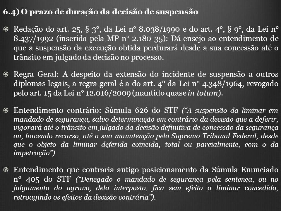 6.4) O prazo de duração da decisão de suspensão