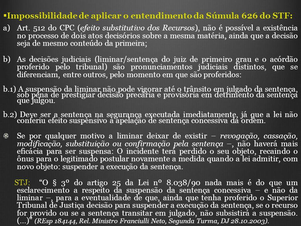 Impossibilidade de aplicar o entendimento da Súmula 626 do STF: