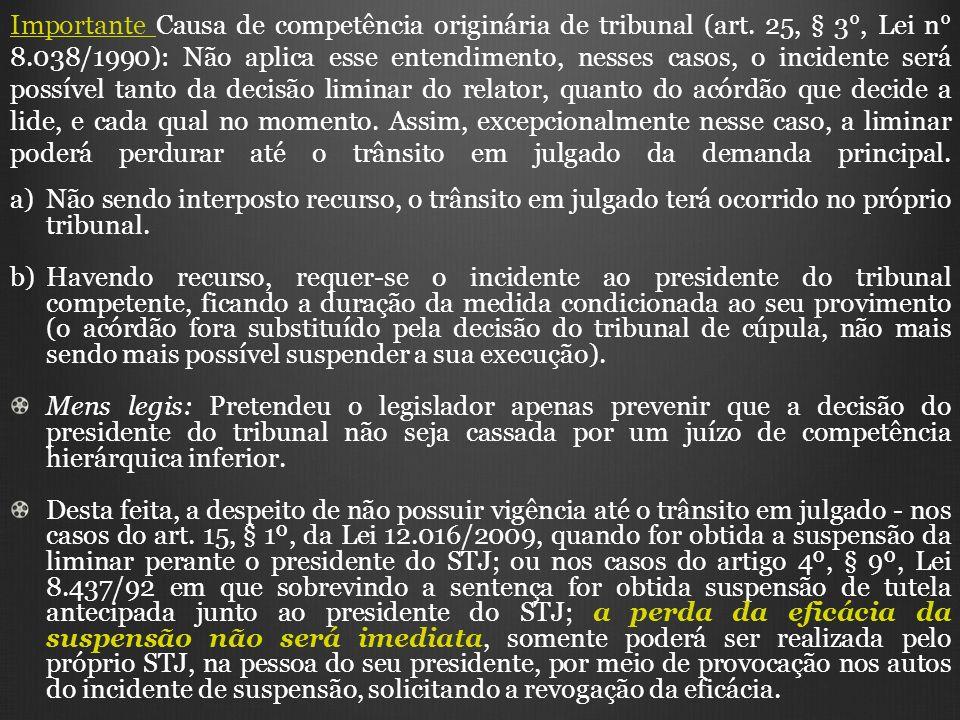 Importante Causa de competência originária de tribunal (art