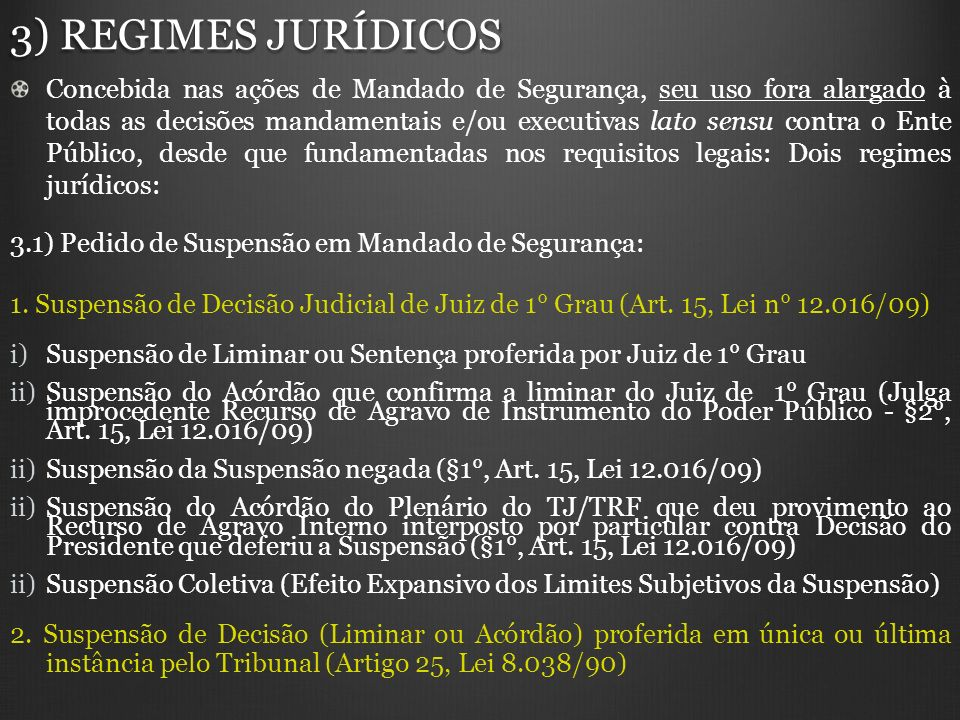 3) REGIMES JURÍDICOS