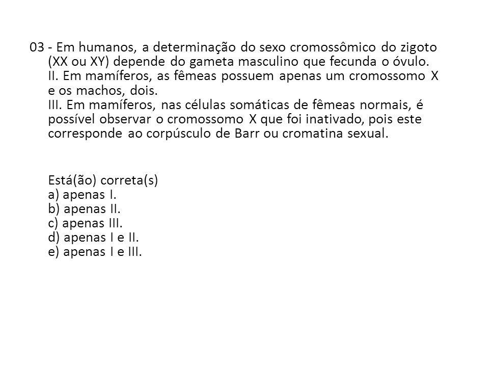 03 - Em humanos, a determinação do sexo cromossômico do zigoto (XX ou XY) depende do gameta masculino que fecunda o óvulo.