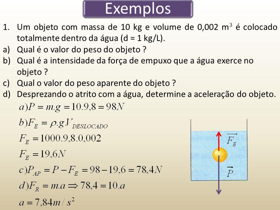 Exemplos Um objeto com massa de 10 kg e volume de 0,002 m3 é colocado totalmente dentro da água (d = 1 kg/L).