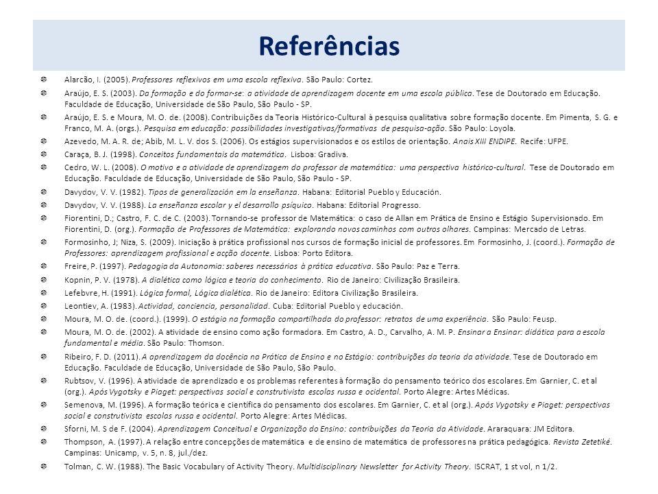 Referências Alarcão, I. (2005). Professores reflexivos em uma escola reflexiva. São Paulo: Cortez.