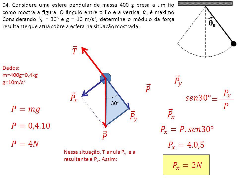 04. Considere uma esfera pendular de massa 400 g presa a um fio como mostra a figura. O ângulo entre o fio e a vertical 0 é máximo Considerando 0 = 30o e g = 10 m/s2, determine o módulo da força resultante que atua sobre a esfera na situação mostrada.