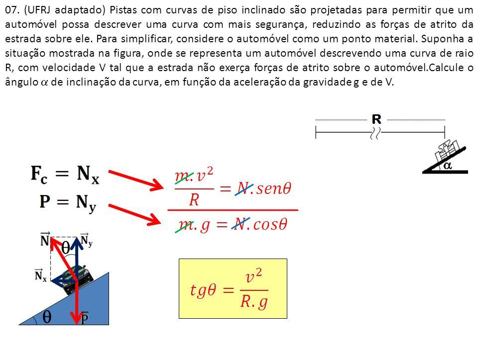 07. (UFRJ adaptado) Pistas com curvas de piso inclinado são projetadas para permitir que um automóvel possa descrever uma curva com mais segurança, reduzindo as forças de atrito da estrada sobre ele. Para simplificar, considere o automóvel como um ponto material. Suponha a situação mostrada na figura, onde se representa um automóvel descrevendo uma curva de raio R, com velocidade V tal que a estrada não exerça forças de atrito sobre o automóvel.Calcule o ângulo  de inclinação da curva, em função da aceleração da gravidade g e de V.