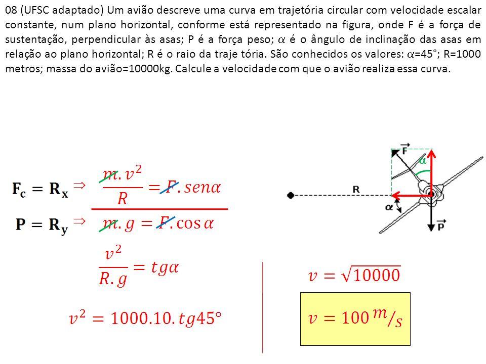 08 (UFSC adaptado) Um avião descreve uma curva em trajetória circular com velocidade escalar constante, num plano horizontal, conforme está representado na figura, onde F é a força de sustentação, perpendicular às asas; P é a força peso;  é o ângulo de inclinação das asas em relação ao plano horizontal; R é o raio da traje tória. São conhecidos os valores: =45°; R=1000 metros; massa do avião=10000kg. Calcule a velocidade com que o avião realiza essa curva.