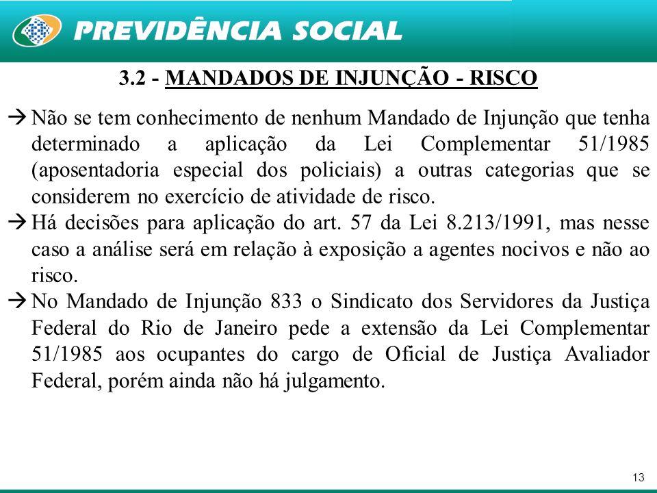 3.2 - MANDADOS DE INJUNÇÃO - RISCO