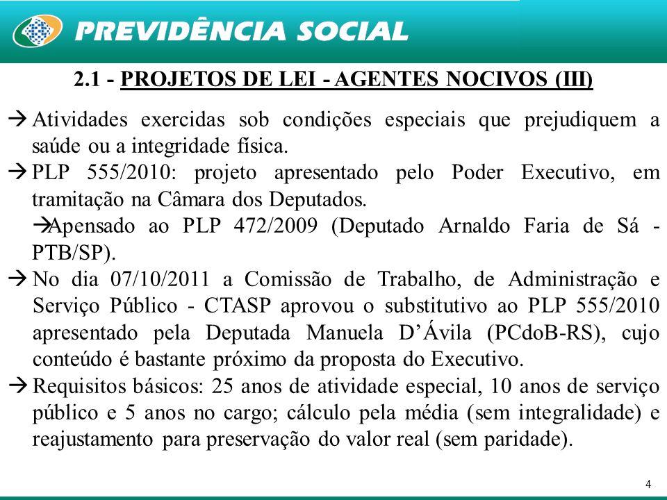 2.1 - PROJETOS DE LEI - AGENTES NOCIVOS (III)